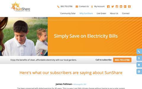 Screenshot of Testimonials Page mysunshare.com - SunShare and Community Solar Gardens | Solar Farm | Testimonials - SunShare Community Solar Gardens | Community Solar Projects | Renewable Energy Solar Farms - captured Oct. 19, 2018