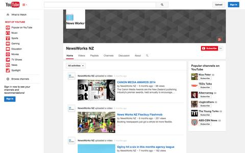 Screenshot of YouTube Page youtube.com - NewsWorks NZ  - YouTube - captured Oct. 26, 2014