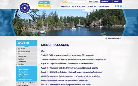 Screenshot of Press Page scrd.ca - SCRD - captured Oct. 27, 2017