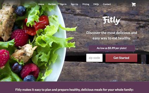 Screenshot of Home Page fitly.com - Fitly® - Delicious. Delivered.™ - captured Sept. 16, 2014