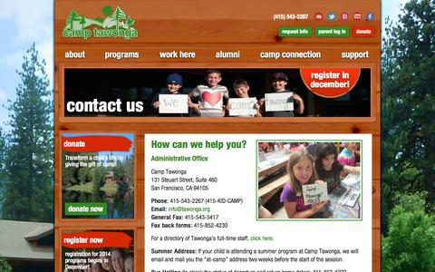 Screenshot of Contact Page tawonga.org - contact us - Camp Tawonga - captured Oct. 1, 2014