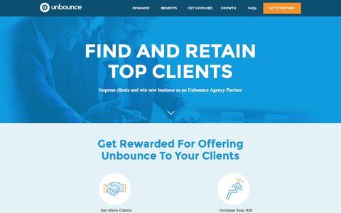 Screenshot of Landing Page unbounce.com - Unbounce Agency Partner Program - captured Nov. 16, 2016