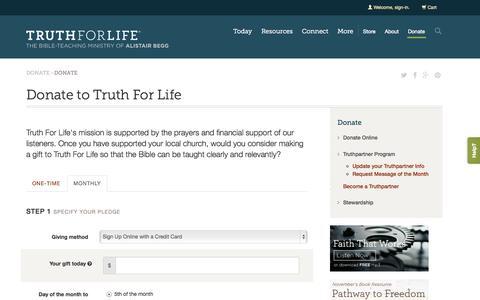 Screenshot of Signup Page truthforlife.org - Donate Online - Truth For Life - captured Nov. 5, 2014