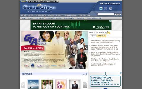 Screenshot of Home Page gospelcity.com - Gospel Music -- GospelCity -- Entertain Your Belief - captured Oct. 3, 2014