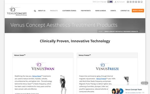 Screenshot of Products Page venusconcept.com - Venus Concept Aesthetics Treatment Machines - captured July 4, 2016
