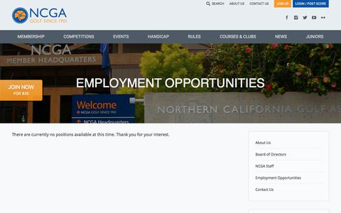 Screenshot of Jobs Page ncga.org - Employment Opportunities - Northern California Golf Association - captured June 22, 2017