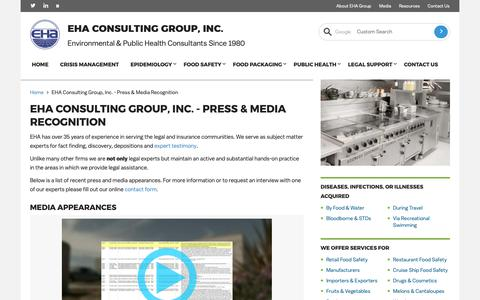 Screenshot of Press Page ehagroup.com - Press and Media: EHA Consulting Group Interviews and Appearances - captured Nov. 8, 2018