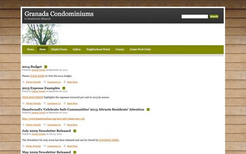 Screenshot of Press Page granadahazelwood.com - Granada Condominiums in Hazelwood Missouri - captured Oct. 3, 2014