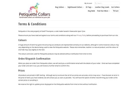 Screenshot of Terms Page petiquettecollars.co.uk - Terms & Conditions - Petiquette Collars - captured Oct. 1, 2016