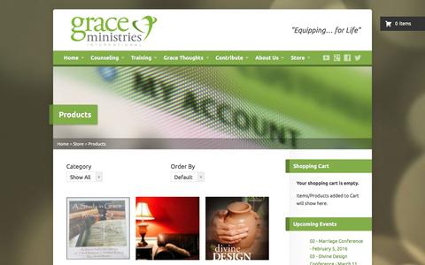 Screenshot of Products Page gmint.org - Products | Grace Ministries International – Discipleship Counseling – Exchanged Life Training - captured Feb. 1, 2016