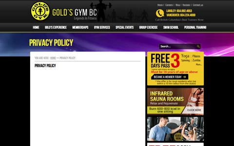 Screenshot of Privacy Page goldsgymbc.ca - Privacy Policy - Gym & Fitness Club VancouverGym & Fitness Club Vancouver - captured Oct. 10, 2014