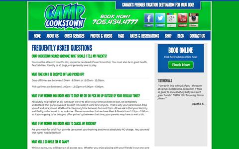 Screenshot of FAQ Page campcookstown.com - Camp Cookstown Dog Boarding - FAQS - captured May 27, 2016