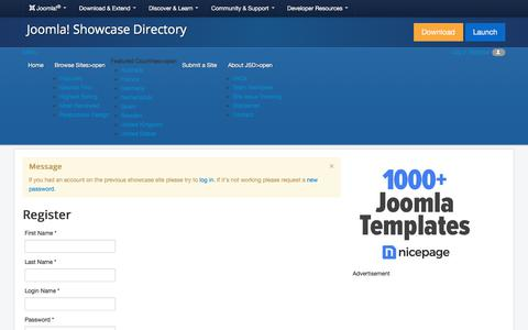 Screenshot of Trial Page joomla.org - Register - Joomla! Showcase Directory - Joomla! Showcase Directory - captured Nov. 6, 2019
