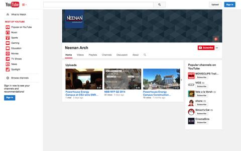Screenshot of YouTube Page youtube.com - Neenan Arch  - YouTube - captured Nov. 4, 2014