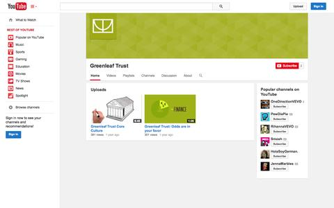 Screenshot of YouTube Page youtube.com - Greenleaf Trust  - YouTube - captured Oct. 23, 2014