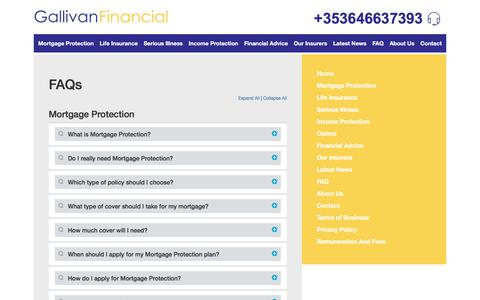 Screenshot of FAQ Page gallivanfinancial.ie - Gallivan Financial - Mortgage Protection, Life Insurance & Income Protection - Quick Quote Online - captured July 16, 2018