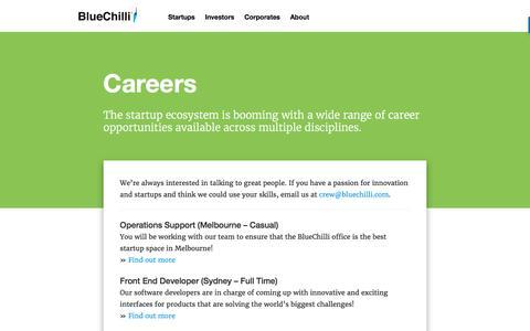 Screenshot of Jobs Page bluechilli.com - Careers - BlueChilli - captured Nov. 17, 2016