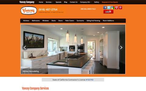 Screenshot of Services Page yanceycompany.com - Sacramento Home Improvement Services | Yancey Company | Sacramento CA - captured Sept. 30, 2014