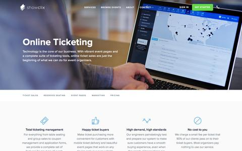 Screenshot of Pricing Page showclix.com - Online Ticketing | ShowClix - captured Nov. 18, 2015