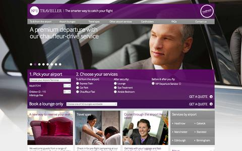 Screenshot of Home Page no1traveller.com - Airport Lounges at Heathrow, Gatwick, Stansted, Birmingham & Edinburgh - No.1 Traveller - captured Sept. 16, 2014