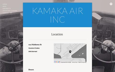 Screenshot of Locations Page kamakaair.com - Location & Hours — Kamaka Air Inc - captured March 11, 2016