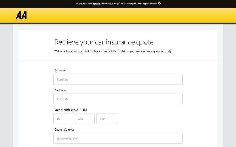 Car Insurance: Retrieve your car insurance quote - The AA