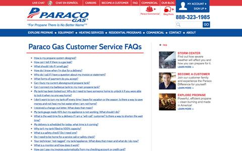 Screenshot of FAQ Page paracogas.com - Frequently Asked Questions | FAQ | Paraco Gas - captured Jan. 25, 2016