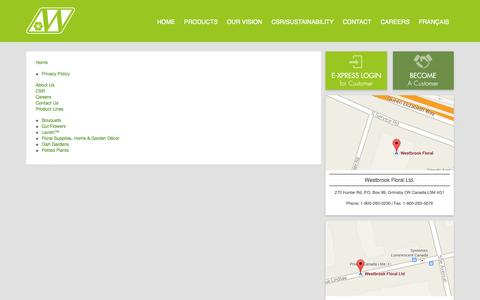 Screenshot of Site Map Page westbrookfloral.com - Site Map | Westbrook Floral - captured Oct. 7, 2014