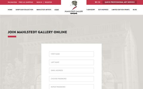 Screenshot of Signup Page jam415.com - Create an account at Mahlstedt Gallery Online - captured Jan. 23, 2016