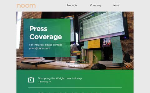 Screenshot of Press Page noom.com - Press - captured Sept. 16, 2014