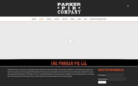 Screenshot of About Page parkerpie.com - About | The Parker Pie Co. - captured Nov. 10, 2018