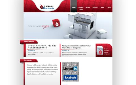 Screenshot of Home Page adways-indonesia.co.id - PT.Adways Indonesia - captured Oct. 1, 2014