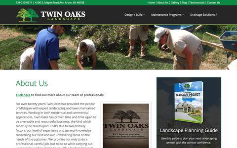 Screenshot of About Page twinoakslandscape.biz - Professional Landscaping and Lawn Care in Michigan - captured Aug. 2, 2018