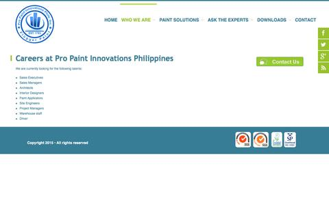 Screenshot of Jobs Page propaint.ph - Careers at Pro Paint Innovations Philippines - captured Nov. 14, 2016