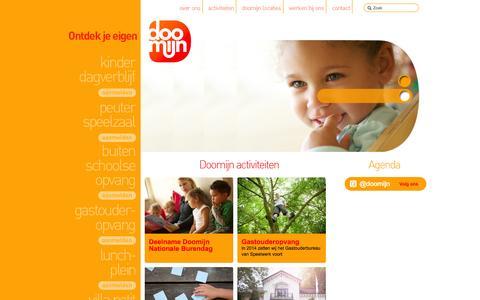 Screenshot of Home Page doomijn.nl - Doomijn - kinderdagverblijf, peuterspeelzaal, BSO, Kinderopvang Zwolle - captured Oct. 5, 2014
