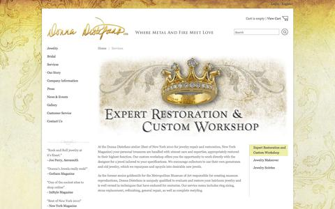 Screenshot of Services Page donnadistefanoltd.com - Donna Distefano Ltd. - Donna Distefano Ltd.-Engagement Rings, Bridal Jewelry, Handcrafted, Custom, Fair Trade Jewelry - captured Oct. 29, 2014