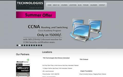 Screenshot of Locations Page tna.edu.pk - TNA - Technologies Net Alliance - captured Oct. 7, 2014
