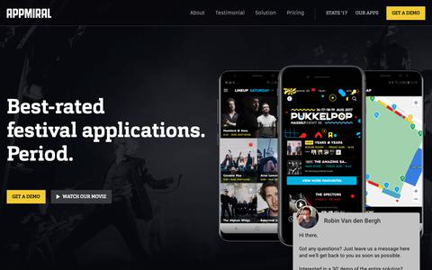 Screenshot of Home Page appmiral.com - Appmiral - Best-rated event/music festival apps on the planet. - captured Nov. 6, 2018