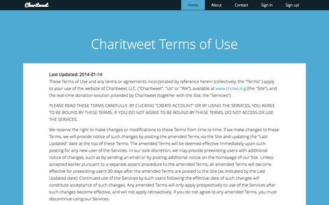 Screenshot of Terms Page chrtwt.org - Charitweet | Make giving go viral - captured Oct. 1, 2014
