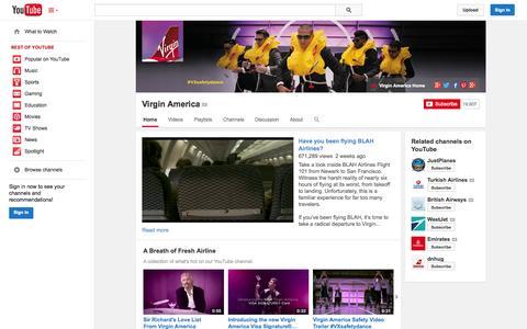Screenshot of YouTube Page youtube.com - Virgin America  - YouTube - captured Oct. 29, 2014