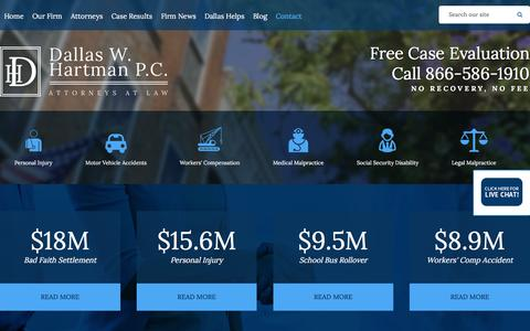 Screenshot of Contact Page dallashartman.com - Contact | Dallas W. Hartman P.C. | Pittsburgh - captured Feb. 8, 2016