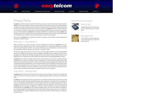 Screenshot of Privacy Page easytelcom.com - How to contact easytelcom - captured Oct. 20, 2016