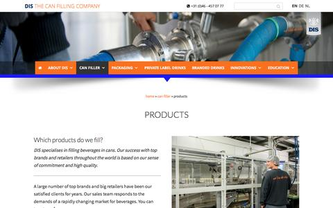 Screenshot of Products Page diseurope.com - products - DIS Europe - captured Nov. 23, 2016