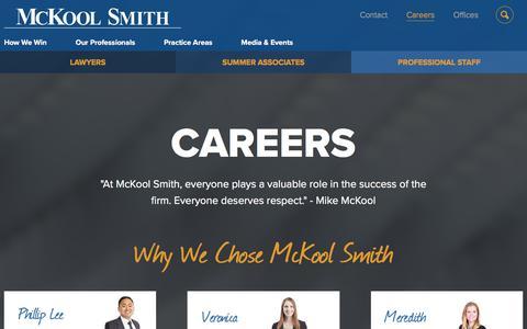 Screenshot of Jobs Page mckoolsmith.com - Careers: McKool Smith - captured Sept. 20, 2018
