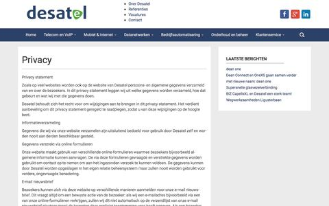 Screenshot of Privacy Page desatel.nl - Privacy | DeSaTel de Telecom Specialist van Nederland - captured Aug. 1, 2016