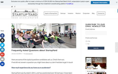 Screenshot of FAQ Page startupyard.com - Frequently Asked Questions about StartupYard - StartupYard - captured June 17, 2017