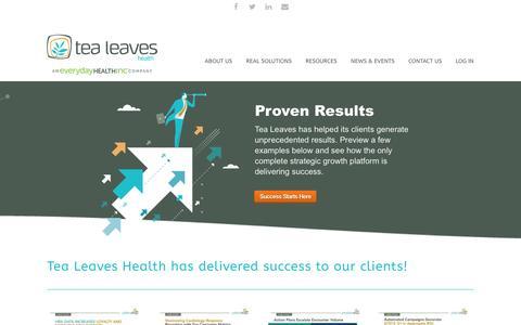Screenshot of Case Studies Page tealeaveshealth.com - Tea Leaves Health | Case Studies - captured Dec. 6, 2016