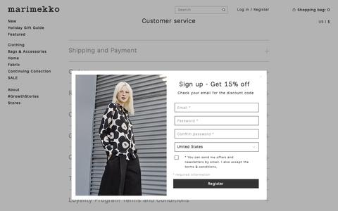 Screenshot of Contact Page Terms Page marimekko.com - Customer service  - Marimekko.com - captured Nov. 5, 2018