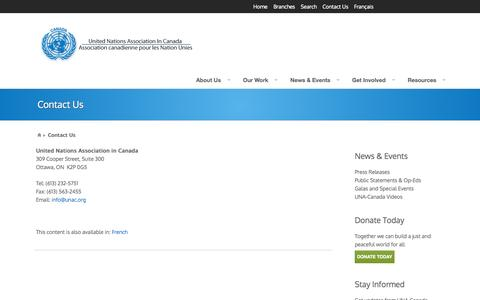 Screenshot of Contact Page unac.org - Contact Us | United Nations Association In Canada - captured Oct. 6, 2014