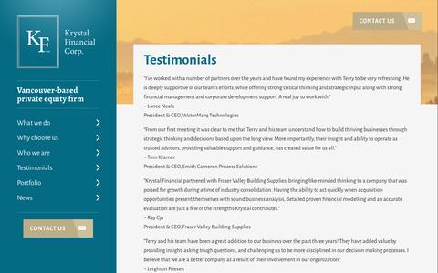 Screenshot of Testimonials Page krystalfinancial.ca - Testimonials | Krystal Financial Corp. - Vancouver Private Equity Firm - captured Nov. 27, 2016